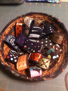 Fabric coiled bowl filled with finger fobs