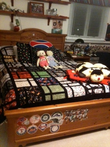 A sports quilt for Andrew's bed